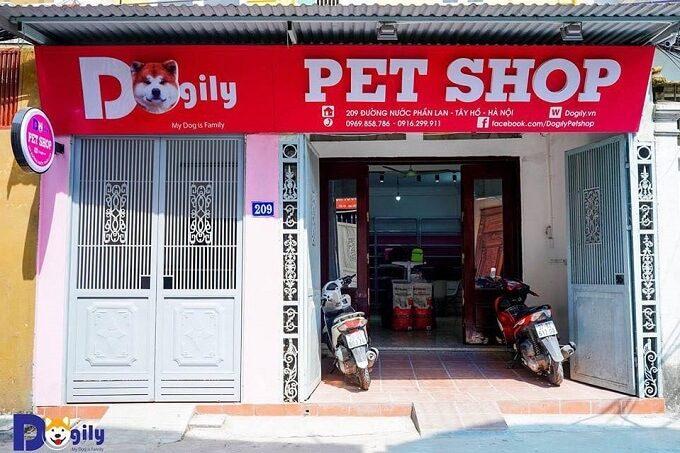 Cửa hàng Dogily Petshop tại 209 đường nước Phần Lan, quận Tây Hồ, Hà Nội.